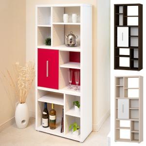 収納棚 引戸付 5段 デザインシェルフ コルタ ( 本棚 書棚 間仕切り オープンラック )|interior-palette