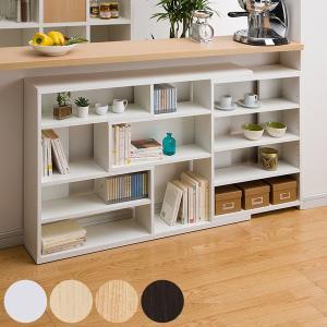 カウンター下 収納棚 スリムタイプ 高さ80cm 幅118〜155cm 伸縮機能 ( 本棚 収納ラック ) interior-palette