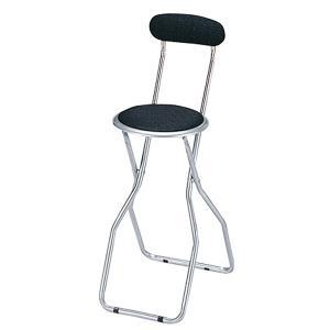 カウンターチェア 背もたれ付き 折りたたみ式 ブラック( ハイチェア バーチェア 椅子 イス )|interior-palette