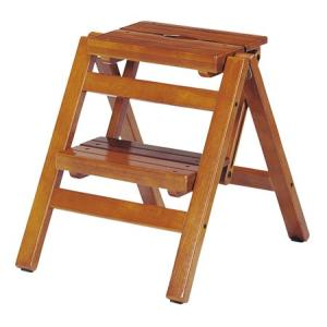 ステップチェア 折りたたみ式 2段 木目 ブラウン( 踏み台 踏台 脚立 椅子 イス 木製 )|interior-palette