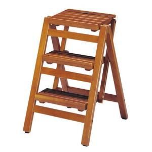 ステップチェア 折りたたみ式 3段 木目 ブラウン( 踏み台 踏台 脚立 椅子 イス 木製 )|interior-palette