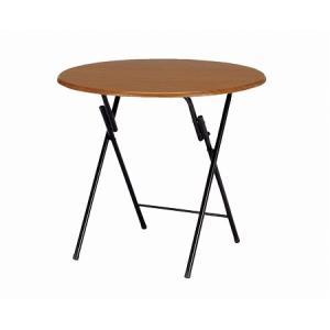 フォールディングテーブル ブラウン 円型 直径80cm( ダイニングテーブル カフェ ラウンジテーブル 折りたたみ 机 丸テーブル )()|interior-palette