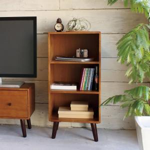 ラック 3段 脚付き 北欧風 天然木 ココア 幅40cm ( 棚 シェルフ 収納 木製 本棚 書棚 )|interior-palette