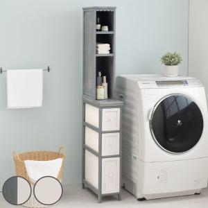 棚付チェスト シャビーウッド アンティーク調 幅20cm ( ランドリー 洗面所 隙間収納 キッチン 桐製 桐 )|interior-palette