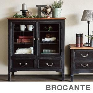 キャビネット ブロカントシリーズ アンティーク調 幅80cm ブラック ( 収納棚 多目的ラック )|interior-palette