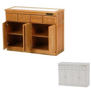 キッチンカウンター タイル天板 コンセント付 4枚扉 幅92cm ( キャスター付き カウンター キッチン収納 完成品 )|interior-palette