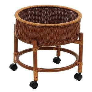 籐 ランドリーワゴン ラタン製 円形 キャスター付 直径48cm ( ラタン 籐製 アジアン家具 アジアン ランドリーラック 衣類収納 )|interior-palette