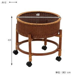 籐 ランドリーワゴン ラタン製 円形 キャスター付 直径48cm ( ラタン 籐製 アジアン家具 アジアン ランドリーラック 衣類収納 )|interior-palette|02