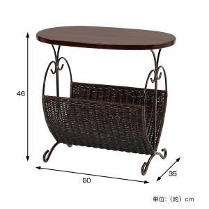 籐 ローテーブル マガジンラック型 楕円天板 アジアン家具 幅50cm ( 籐家具 籐製品 アイアンフレーム テーブル サイドテーブル )|interior-palette|03