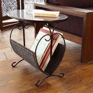 籐 ローテーブル マガジンラック型 楕円天板 アジアン家具 幅50cm ( 籐家具 籐製品 アイアンフレーム テーブル サイドテーブル )|interior-palette|04