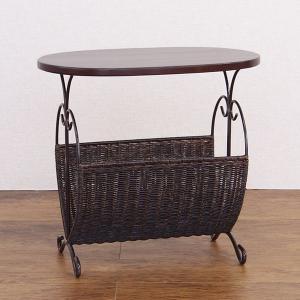 籐 ローテーブル マガジンラック型 楕円天板 アジアン家具 幅50cm ( 籐家具 籐製品 アイアンフレーム テーブル サイドテーブル )|interior-palette|05