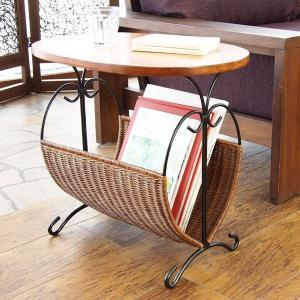 籐 ローテーブル マガジンラック型 楕円天板 アジアン家具 幅50cm ( 籐家具 籐製品 アイアンフレーム テーブル サイドテーブル )|interior-palette|06