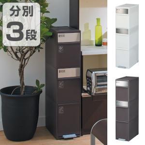 ゴミ箱 分別 スイングステーション ワイド 3段 ( ゴミ箱 ダストボックス ペダル 縦型 キッチン 隙間 省スペース 大容量 おしゃれ )|interior-palette