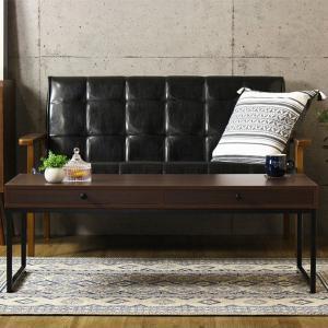 ローテーブル 木目調ダークブラウン 幅110cm スチールフレーム脚 組立式 ( リビングテーブル センターテーブル 机 デスク 引き出し )|interior-palette