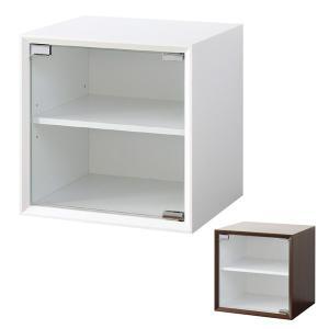 キューブボックス ガラス扉 収納ボックス 36cm角 奥行き30cm ( カラーボックス 小物入れ 収納 棚 ボックス 組み合わせ 木製 シンプル )|interior-palette