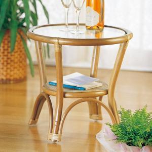 ラタンテーブル 円型 ガラス天板 直径45cm ( サイドテーブル アジアン ) interior-palette