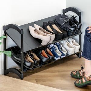 【週末限定クーポン】シューズラック 伸縮タイプ 2段 積み重ね可能 ( 靴箱 ) interior-palette