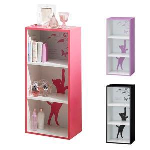 カラーボックス ラック 3段 シャローゼ 幅39cm ピンク ( 収納ボックス ガーリー ネコ 本棚 )|interior-palette