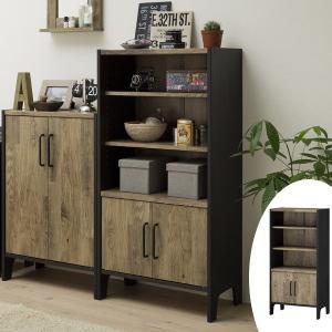 フリーラック 3段 扉付 古材風 アメリカンビンテージ 幅約58cm ( 収納ラック シェルフ オープン ディスプレイ モダン 簡単 組み立て DIY )|interior-palette