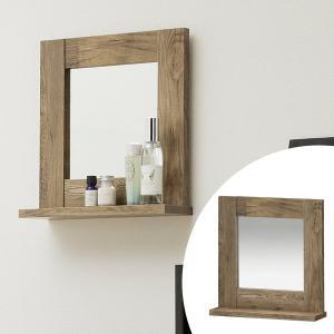壁掛けラック ウォールミラー 古材風 アメリカンビンテージ 幅約35cm ( ミラー 壁掛け 鏡 モダン DIY アンティーク 木 )|interior-palette