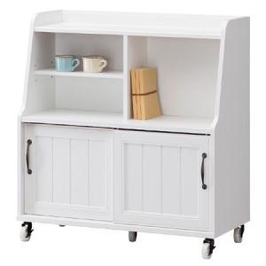 間仕切り収納 ワゴン アンティーク風 レトロア レトロモダン( ホワイト 木製 )|interior-palette