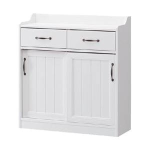 カウンター下収納 アンティーク風 レトロア レトロモダン( ホワイト 木製 )|interior-palette