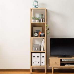ラック 4段 フリーラック 北欧風 ナチュラル ほこほこ 幅40cm ( シェルフ 収納棚 棚 ディスプレイラック 木製 木製脚 オープンラック 本棚 )|interior-palette