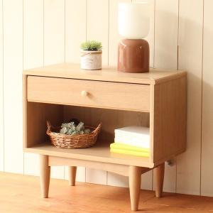 サイドテーブル 北欧風 ナチュラル ほこほこ 幅57cm ( サイドボード ラック ボード ミニラック 引出し付 収納棚 棚 木製 )|interior-palette