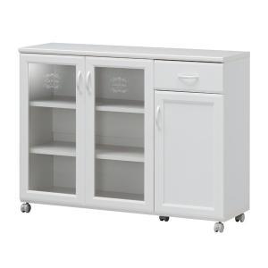 カウンターワゴン 食器棚 キャスター付 カフェ風デザイン セシルナ 幅112cm ( キッチンカウンター キッチンラック キッチンワゴン )|interior-palette
