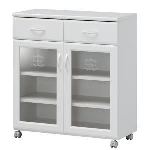 カウンターワゴン 食器棚 キャスター付 カフェ風デザイン セシルナ 幅76cm ( キッチンカウンター キッチンワゴン キッチンラック )|interior-palette