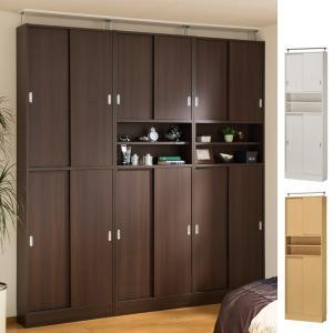 壁面収納 キャビネット 扉付 スリムタイプ オープン棚付 ピットフィット 幅74cm ( 収納棚 薄型 突っ張り 引戸 省スペース 薄い ) interior-palette