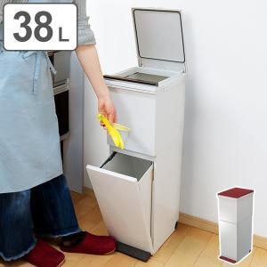 ゴミ箱 分別 2段 スリム パッキン付き 防臭 38L 縦型 分別ゴミ箱 モダンカラー ( キッチン ごみ箱 ふた付き プッシュ ペダル )|interior-palette