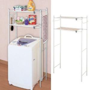 ランドリーラック タオル掛け付き 洗濯機棚 棚板2段 伸縮式 ( ランドリー収納 洗濯機 ラック サニタリーラック )|interior-palette