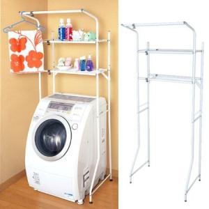 ランドリーホワイトラック 洗濯機棚 棚板2段 伸縮式 ( ランドリー収納 洗濯機 ラック サニタリーラック )|interior-palette