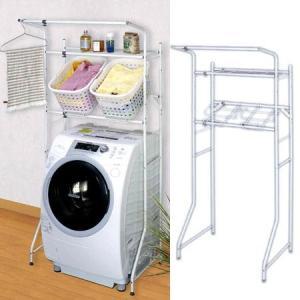 ランドリーラック バスケット台付ランドリーラック 洗濯機棚 伸縮式 ( ランドリー収納 洗濯機 収納 )|interior-palette