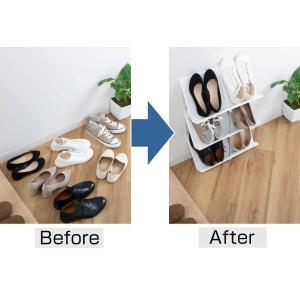 シューズラック 省スペース 3段 ( シューズボックス 靴箱 靴入れ )|interior-palette|05