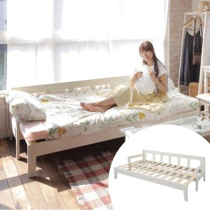 ソファーベッド エクステンションベッド ine rino シングルサイズ 長さ203cm ( ソファベッド ベッド シングルベッド ソファ 天然木 木製 )|interior-palette