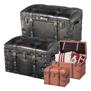 収納スツール 椅子 宝箱 レザー調 同色大小2個セット ( 収納ボックス チェア )|interior-palette