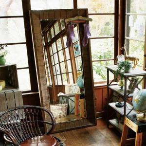 ミラーL 天然木・杉 ( 姿見 鏡 全身 )|interior-palette
