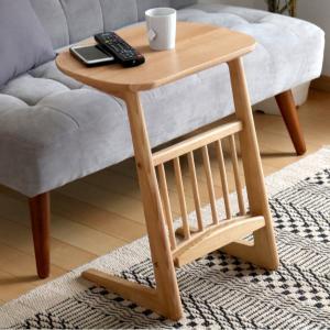 【週末限定クーポン】サイドテーブル 天然木 アッシュ材 幅44cm ( テーブル 机 つくえ カフェテーブル ナイトテーブル 木製 収納付き )|interior-palette