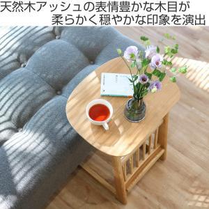 【週末限定クーポン】サイドテーブル 天然木 アッシュ材 幅44cm ( テーブル 机 つくえ カフェテーブル ナイトテーブル 木製 収納付き )|interior-palette|02