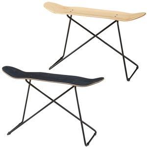 スツール スケートボード風 椅子 チェア ( イス チェアー ベンチ スケボー風 サイドテーブル 木製座面 スチール製脚 )|interior-palette
