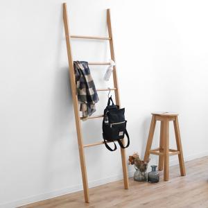 ラダーラック 木製 天然木 オーク材 幅60cm ( ラダーハンガー はしご型 ハシゴ型 梯子型 ラック )|interior-palette