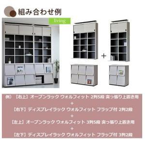 【週末限定クーポン】ディスプレイラック ウォルフィット フラップ付 3列2段 ホワイト ( 本棚 A4ファイル収納 )|interior-palette|02