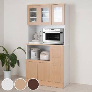 食器棚 カップボード レンジ台 北欧風 Face 幅90cm ( 家電収納 キッチン収納 戸棚 棚 収納棚 キッチンキャビネット ガラス扉 スライド )|interior-palette