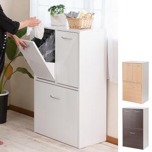 分別ゴミ箱 2段3分別 キッチン収納 Face 幅約55cm ( ごみ箱 ダストボックス ダストBOX 資源ゴミ 分別 キッチン 家具調 )|interior-palette