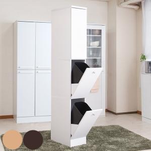 キッチン収納 スリム 北欧風 2分別ダストボックス付 Face 幅25cm ( ダストボックス ゴミ箱 ペール 収納 キッチンボード )|interior-palette