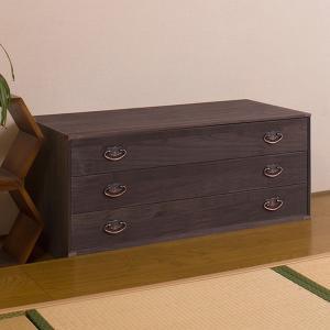 桐タンス 3段 桐収納 モダン 引出し 幅99cm 日本製 ブラウン ( 桐箪笥 桐たんす 衣装ケース 衣装箱 着物 )|interior-palette