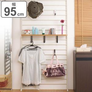突っ張り壁面収納 棚付 幅95cm アイボリー(ラダーラック つっぱり収納 )|interior-palette