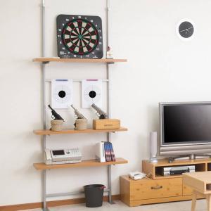 壁面収納 突っ張りオープンラック 無段階調整 棚板2段付 幅90cm ( つっぱり 突っ張り ラック )|interior-palette|06